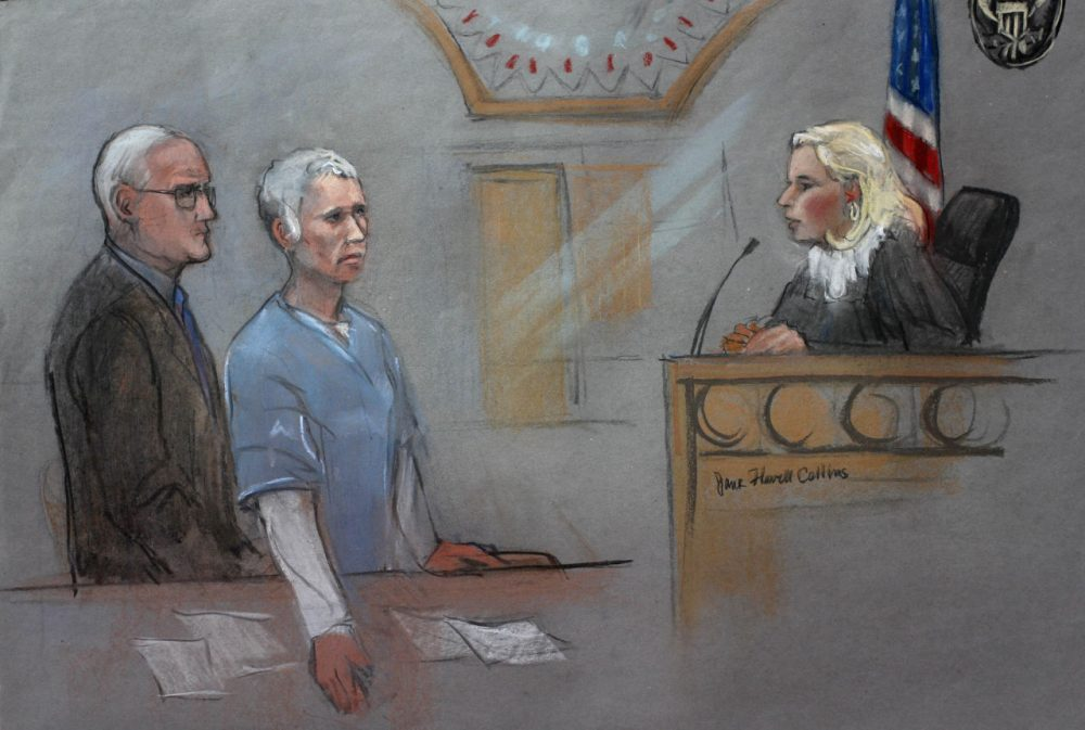 """In this courtroom sketch, Catherine Greig, center, the longtime girlfriend of James """"Whitey"""" Bulger, is depicted with her lawyer Kevin Reddington, left, before Judge Marianne Bowler, right, during a hearing Monday in federal court in Boston (Jane Flavell Collins via AP)"""