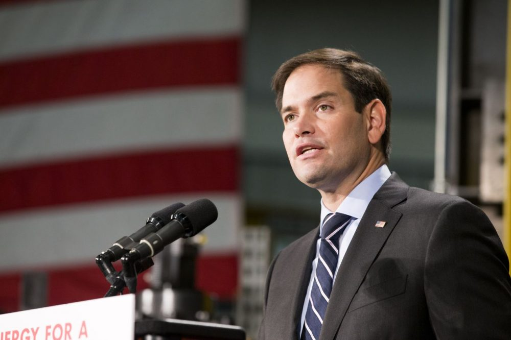 Florida Sen. Marco Rubio gives a campaign speech during a stop on Oct. 16 in Salem, Ohio. (Scott R. Galvin/AP)