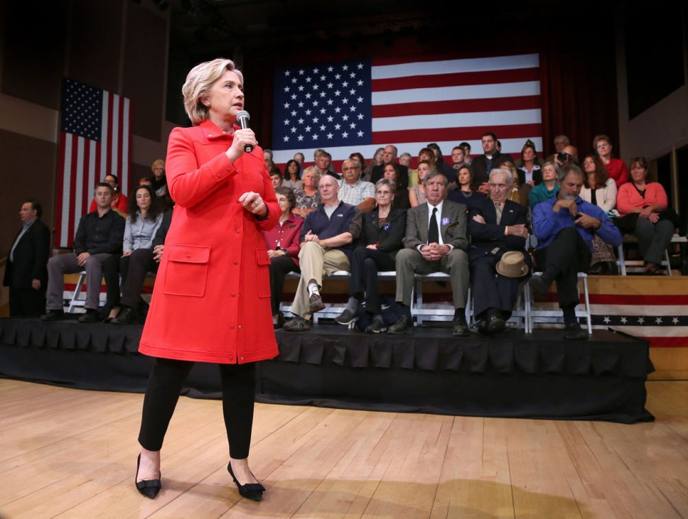 Democratic presidential candidate Hillary Rodham Clinton speaks during a town hall meeting Friday in Keene, N.H. (Mary Schwalm/AP)