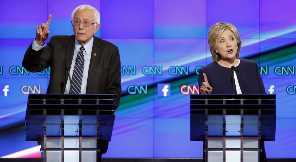 "Josh Davis: ""Bernie Sanders, despite some stylistic gaffes, was the clear winner."" Pictured: Hillary Rodham Clinton, right, and Sen. Bernie Sanders, of Vermont, speak during the CNN Democratic presidential debate Tuesday, Oct. 13, 2015, in Las Vegas. (John Locher/AP)"