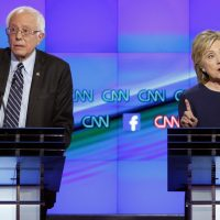 "Josh Davis: ""Bernie Sanders, despite some stylistic gaffes, was the clear winner."" Pictured: Hillary Rodham Clinton, right, and Sen. Bernie Sanders, of Vermont, speak during the CNN Democratic presidential debate Tuesday, Oct. 13, 2015, in Las Vegas. (John Locher/AP)"