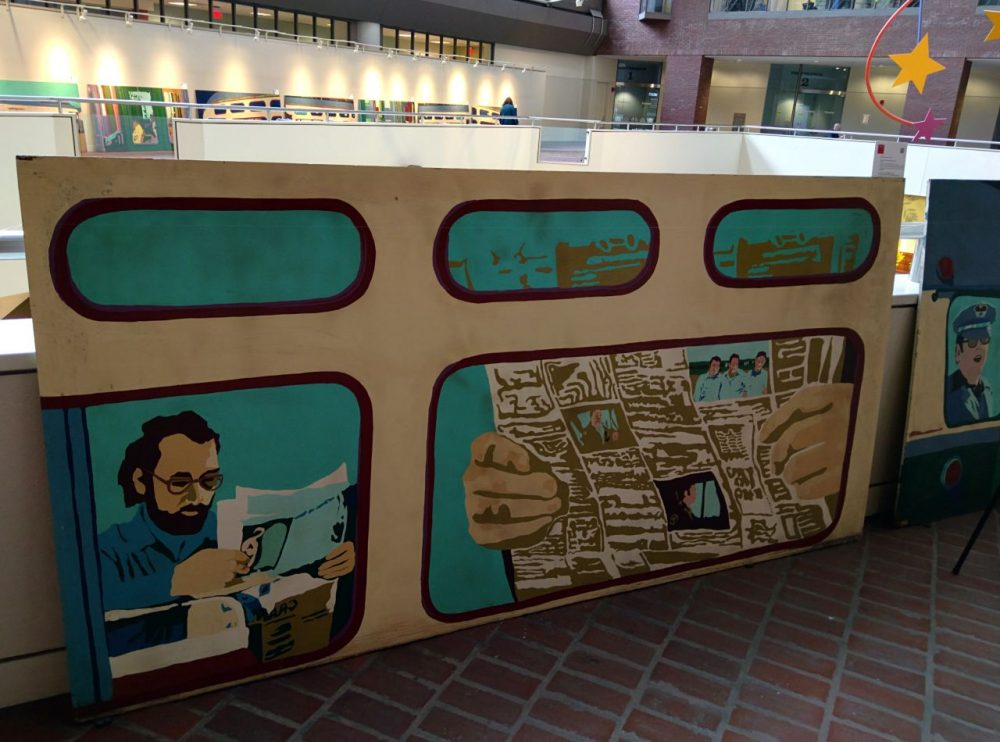 One of the MBTA murals, now on display at the Transportation Building in Boston (Jamie Bologna/WBUR)