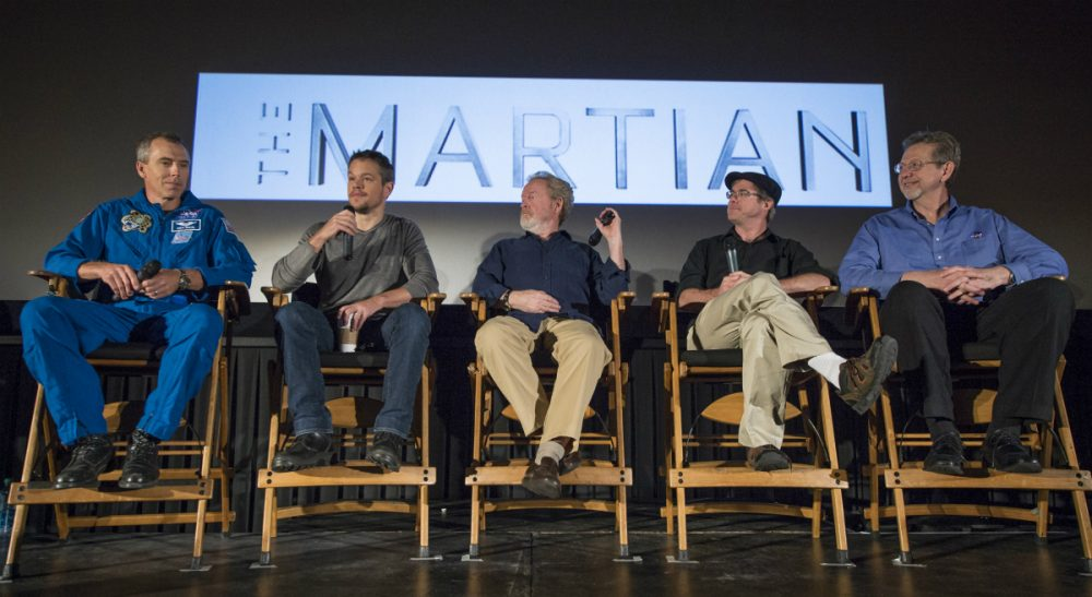 """Jacqueline Miller and Thomas Max Roberts: """"'The Martian' should be required viewing for all middle and high school students, and it should serve as a call to action for improving science education."""" Pictured: NASA Astronaut Drew Feustel, left, Actor Matt Damon, Director Ridley Scott, Author Andy Weir, and Director of the Planetary Science Division at NASA Headquarters Jim Green, participate in a question and answer session about NASA's journey to Mars and the film """"The Martian,"""" Tuesday, Aug. 18, 2015, at the United Artist Theater in La Cañada Flintridge, California. NASA scientists and engineers served as technical consultants on the film.  (Bill Ingalls/NASA)"""