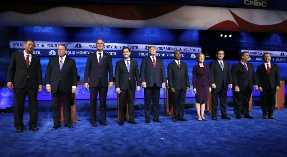 "Julie Wittes Schlack: ""If government is nothing but an inefficient, mendacious, thieving obstacle to American progress and prosperity, then why run for President?"" Pictured: Republican presidential candidates, from left, John Kasich, Mike Huckabee, Jeb Bush, Marco Rubio, Donald Trump, Ben Carson, Carly Fiorina, Ted Cruz, Chris Christie, and Rand Paul take the stage during the CNBC Republican presidential debate at the University of Colorado, Wednesday, Oct. 28, 2015, in Boulder, Colo. (Brennan Linsley/AP)"