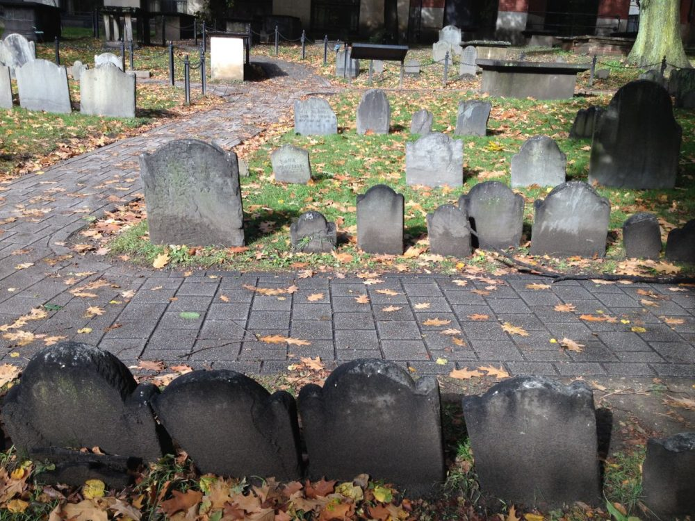 The Granary Burying Ground on Tremont Street in Boston includes many famous graves, and some unnoticed ones as well.