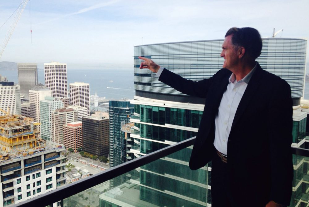 Matt Finley, a realtor with Climb Real Estate, specializes in the luxury housing market at One Rincon Hill in downtown San Francisco. (Peter O'Dowd)