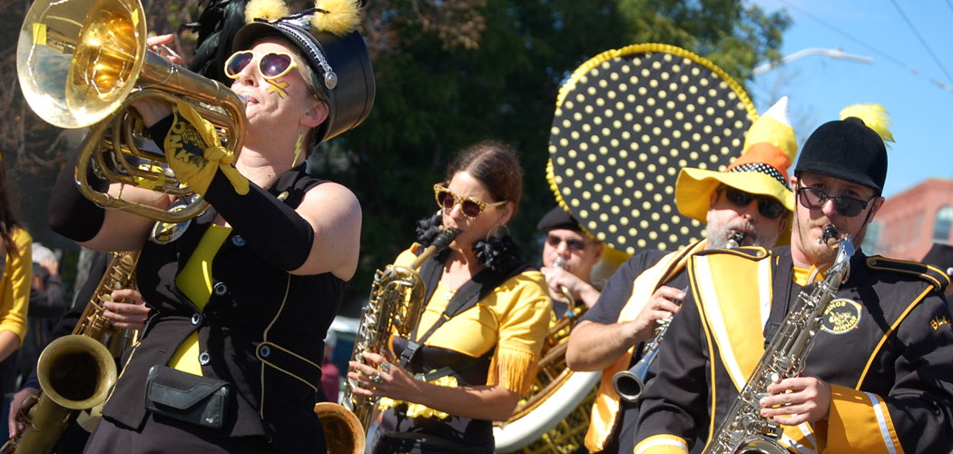 Minor Mishap Marching Band from Austin, Texas, performs during the Honk Parade on Sunday, Oct. 11, 2015. (Greg Cook/WBUR)