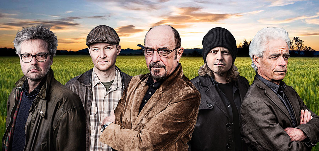 Ian Anderson (center) with his touring band (from left) Florian Opahle, Scott Hammond, John O'Hara and David Goodier. (Courtesy)