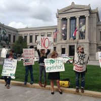 Renoir protesters in front of Boston's Museum of Fine Arts on Oct. 5, 2015. (Max Geller)