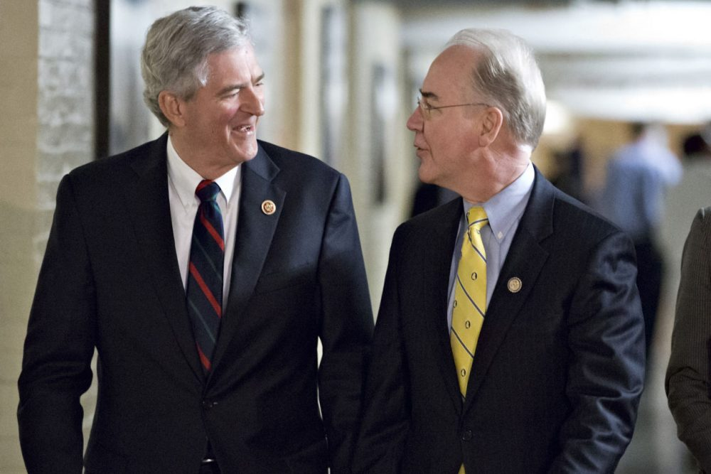 In this file photo, Rep. Daniel Webster, D-Fla., left, and Rep. Tom Price, R-Ga., right, walk together to a House Republican Conference meeting to hear a presentation on a budget agreement . (AP)