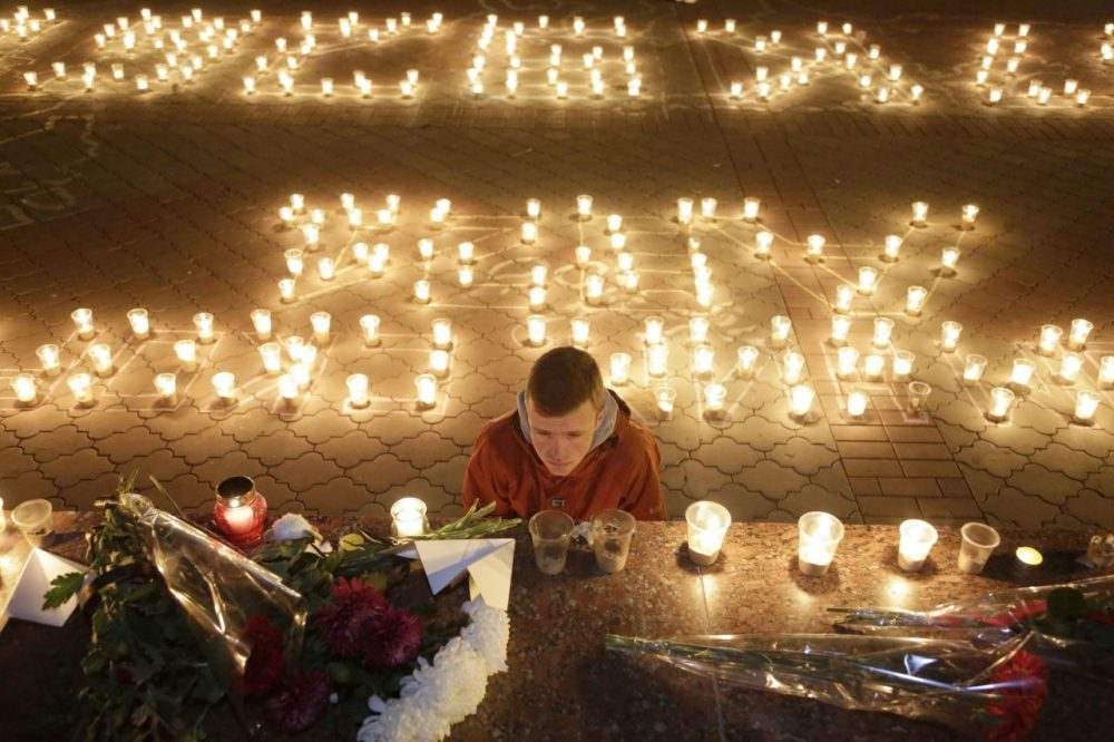 A memorial in Simferopol, a city on the disputed Crimean peninsula, to commemorate  the  victims of a Russian jetliner crash. (Max Vetrov/AFP/Getty Images)