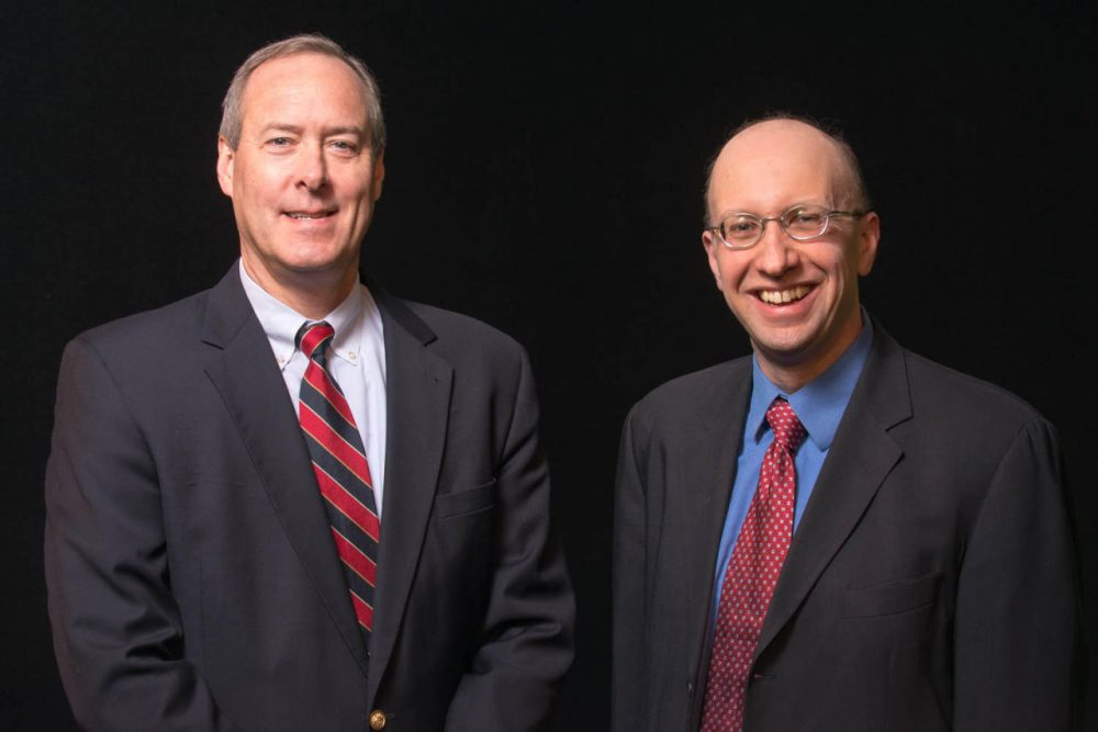Andy Smith (left) and Dante Scala (right) are perhaps the best known, and most quoted, commentators on New Hampshire's political scene. (UNH Communication and Public Affairs)