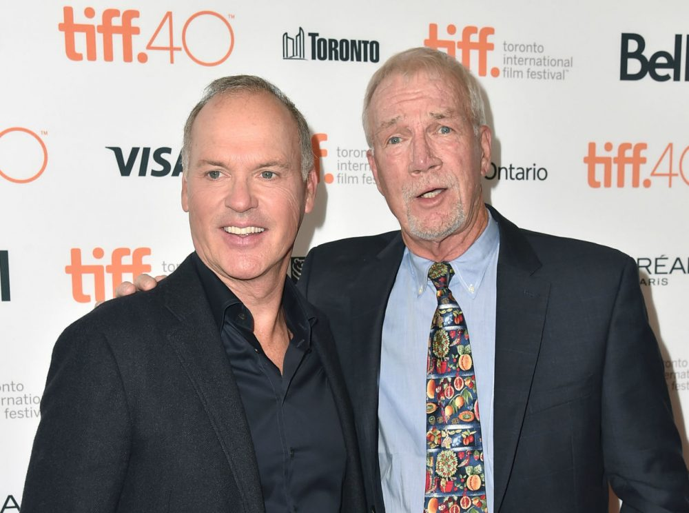 Actor Michael Keaton (left) and Boston Globe editor Walter V. Robinson attend the 'Spotlight' premiere during the 2015 Toronto International Film Festival. (Alberto E. Rodriguez/Getty Images)