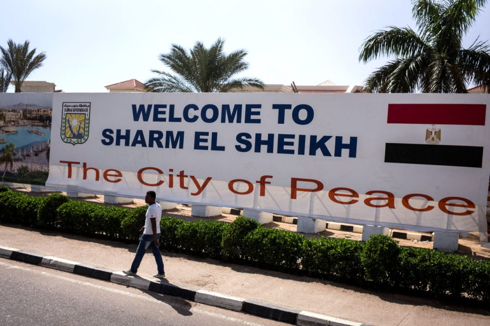 A sign welcoming visitors to Sharm blocks the view of a new development on November 05, 2015 in Sharm El-Sheikh, Egypt. British flights going to and from Egyptian resort of Sharm El Sheikh were grounded today, as investigations continue into the crash of the Russian Airbus-321 earlier this week. This will affect around 20,000 British tourists currently in Sharm El-Sheikh according to Downing Street. (David Degner/Getty Images)
