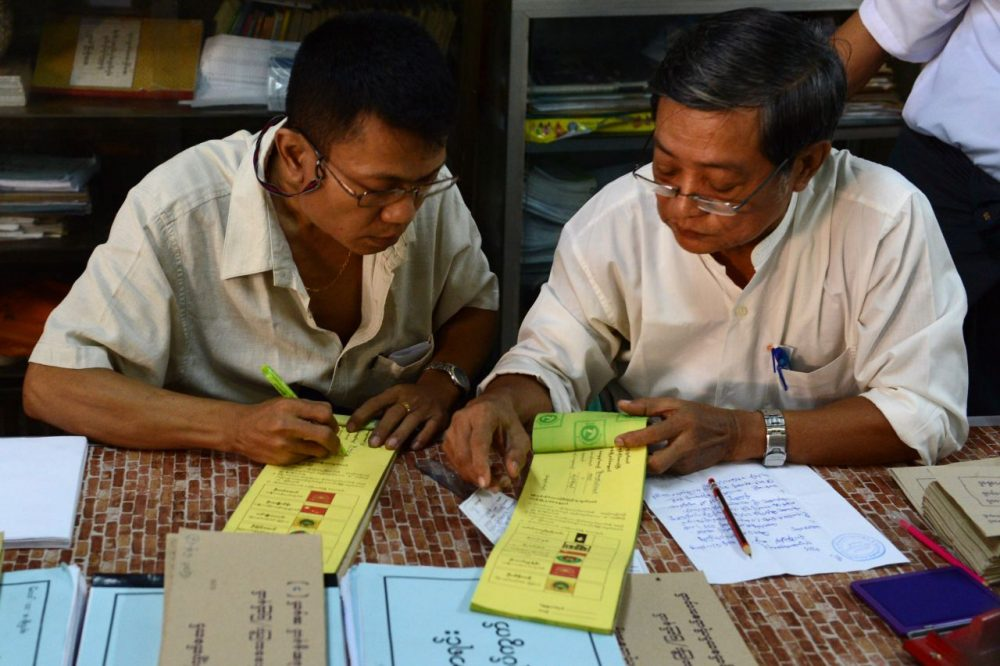 Myanmarese officials prepare ballots during advance voting in Yangon on November 6, 2015. The once junta-run nation heads to the polls on November 8 in what voters and observers hope will be the freest election in decades. While NLD party is expected to triumph at key elections this year, Myanmar opposition leader Aung San Suu Kyi's pathway to the presidency is blocked by a controversial clause in Myanmar's junta-era constitution. (Romeo Gacad/AFP/Getty Images)
