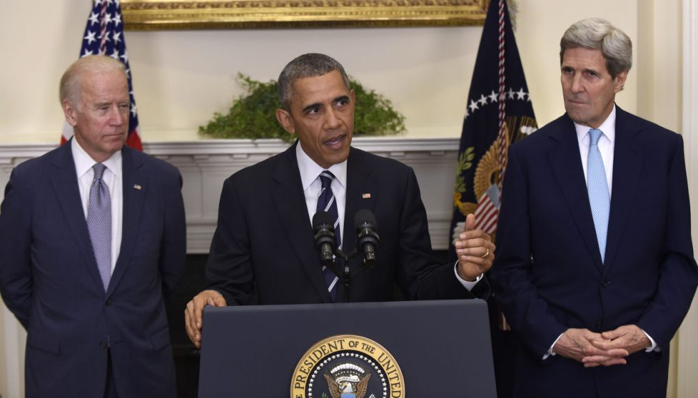 President Barack Obama, accompanied by Vice President Joe Biden and Secretary of State John Kerry, announces he's rejecting the Keystone XL pipeline because he does not believe it serves the national interest. (Susan Walsh/AP)