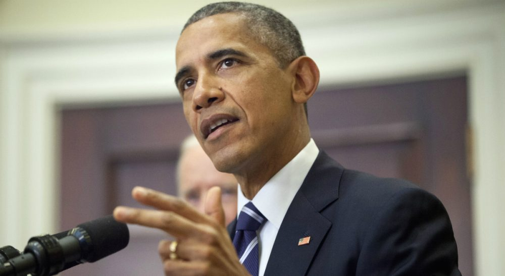 President Barack Obama announces he's rejecting the Keystone XL pipeline because he does not believe it serves the national interest, Friday Nov. 6, 2015. (Pablo Martinez Monsivais/ AP)