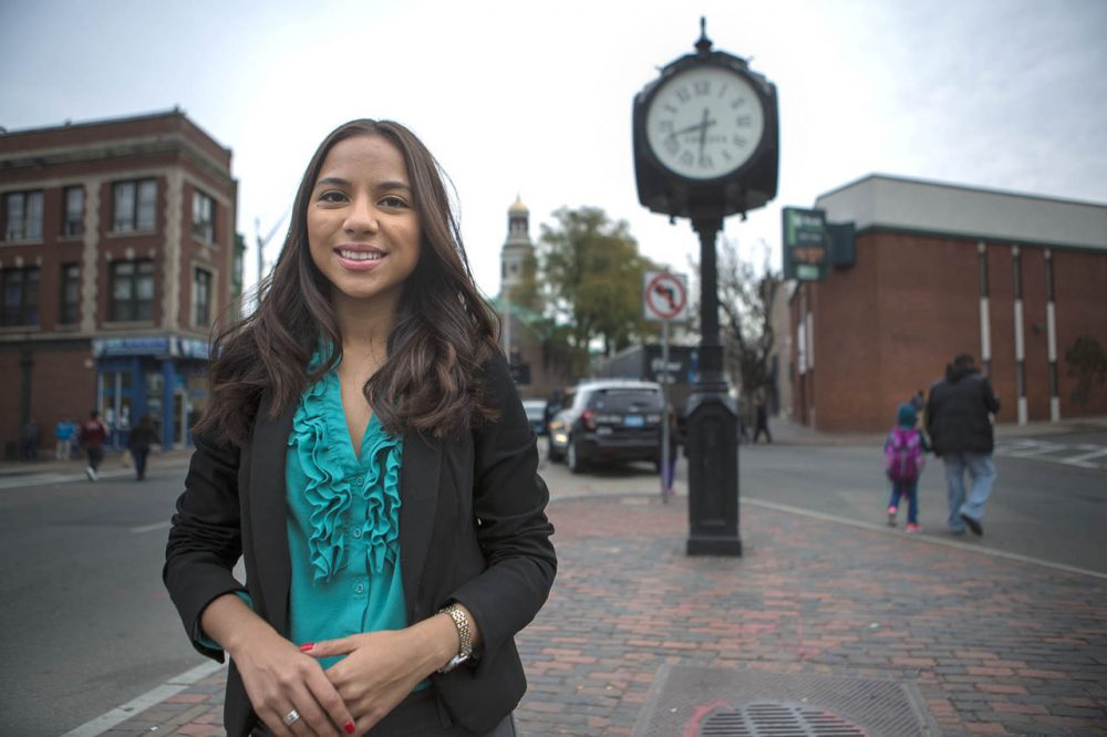 Newly elected Judith Garcia, 24, will be one of six Latinos on the Chelsea City Council. Here she is in Bellingham Square on Tuesday. (Jesse Costa/WBUR)