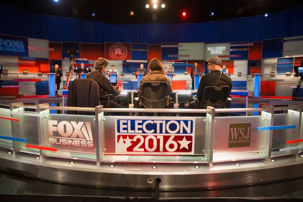 Workers test the setup at the Milwaukee Theater for the Republican presidential debate sponsored by Fox Business News and the Wall Street Journal on November 9, 2015 in Milwaukee, Wisconsin. (Scott Olson/Getty Images)