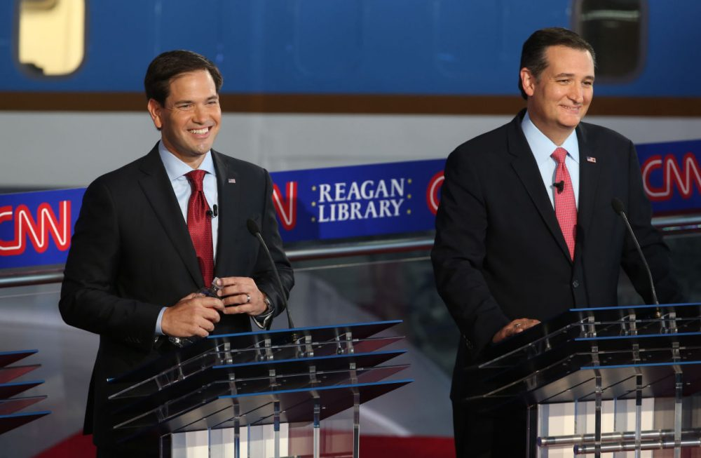 Republican presidential candidate Marco Rubio (left) and Ted Cruz (right) take part in the presidential debates at the Reagan Library on September 16, 2015 in Simi Valley, California. (Justin Sullivan/Getty Images)