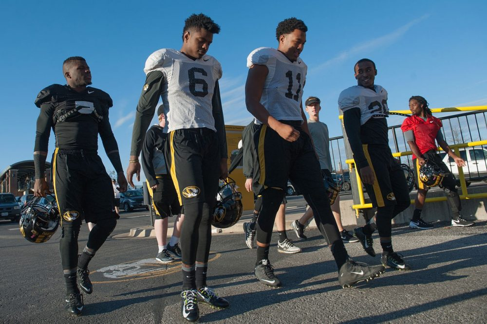 COLUMBIA, MO - NOVEMBER 10: Members of the University of Missouri Tigers Football Team return to practice at Memorial Stadium at Faurot Field on November 10, 2015 in Columbia, Missouri. The university looks to get things back to normal after the recent protests on campus that lead to the resignation of the school's President and Chancellor on November 9. (Photo by Michael B. Thomas/Getty Images)