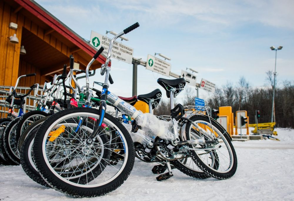 Bikes used by refugees are parked at the Norwegian border crossing station at Storskog after crossing the border from Russia.       (Jonathan Nackstrand/AFP/Getty Images)