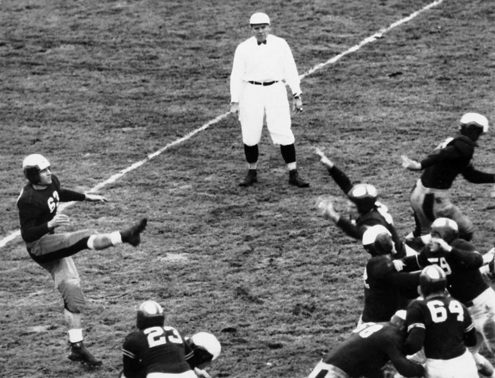 """Referee """"Red"""" Friesell accidentally gave Cornell's football team an extra down when the school played rival Dartmouth on November 16, 1940. Ever since, that game has been known as the """"Fifth Down Game."""" (AP)"""