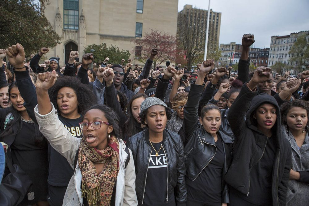 Several hundred Boston University students gathered at Marsh Plaza to show solidarity for University of Missouri students who have been protesting the treatment of minorities on their campus. (Jesse Costa/WBUR)