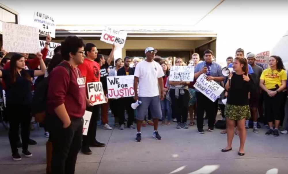 In a screen grab from a video posted Wednesday, Nov. 11, a coalition of campus groups for hold a demonstration to protest a lack of support from the Claremont McKenna College administration for students of color and others with marginalized identities. (CMC Forum/YouTube)