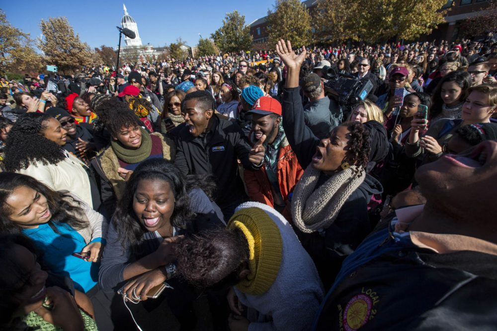 Protesters celebrate after the resignation of Missouri University president Timothy M. Wolfe on the Missouri University Campus November 9, 2015 in Columbia, Missouri. Wolfe resigned after pressure from students and student athletes over his perceived insensitivity to racism on the university campus. (Brian Davidson/Getty Images)