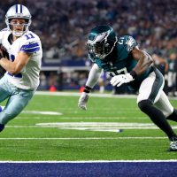 ARLINGTON, TX - NOVEMBER 8: Cole Beasley #11 of the Dallas Cowboys takes the ball to the goal line to score a touchdown against Malcolm Jenkins #27 of the Philadelphia Eagles in the first quarter at AT&T Stadium on November 8, 2015 in Arlington, Texas. (Photo by Ronald Martinez/Getty Images)