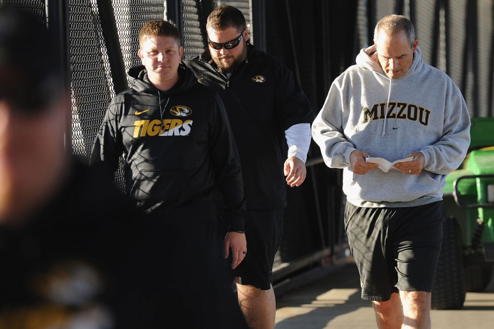 COLUMBIA, MO - NOVEMBER 10: University of Missouri Tigers Football Head Coach Gary Pinkel walks to practice Memorial Stadium at Faurot Field on November 10, 2015 in Columbia, Missouri. The university looks to get things back to normal after the recent protests on campus that lead to the resignation of the school's President and Chancellor on November 9. (Photo by Michael B. Thomas/Getty Images)