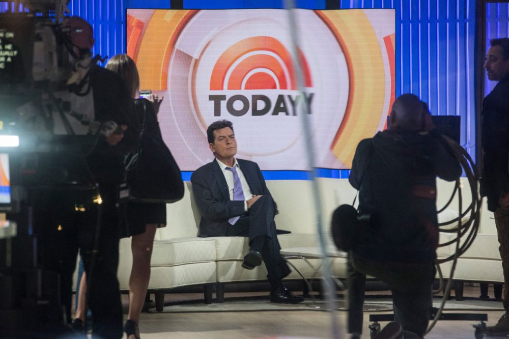 """Actor Charlie Sheen waits on the set of the """"Today"""" show before formally announcing that he is HIV positive in an interview with Matt Lauer on November 17, 2015 in New York City. Sheen says he learned of his diagnosis four years ago and was announcing it publically to put an end to rumors and extortion.  (Andrew Burton/Getty Images)"""