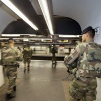 French soldiers patrol in a metro station in Paris on November 17, 2015, as part of security measures set following Paris' attacks. Gunmen and suicide bombers went on a killing spree in Paris on November 13, attacking a concert hall, bars, restaurants and the Stade de France. Islamic State jihadists operating out of Iraq and Syria released a statement claiming responsibility for the coordinated attacks that killed 129 people and left 352 others injured. (Joel Saget/AFP/Getty Images)