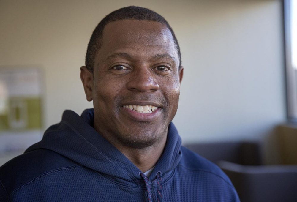 """Troy Brown, a three-time Super Bowl champion, has a book out called """"Patriot Pride: My Life in the New England Dynasty."""" (Robin Lubbock/WBUR)"""