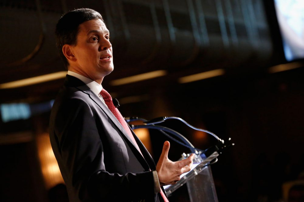 President and CEO of the International Rescue Committee David Miliband speaks on stage at the Annual Freedom Award Benefit hosted by the International Rescue Committee at the Waldorf Astoria Hotel on November 4, 2015 in New York City.  (Brian Ach/Getty Images)