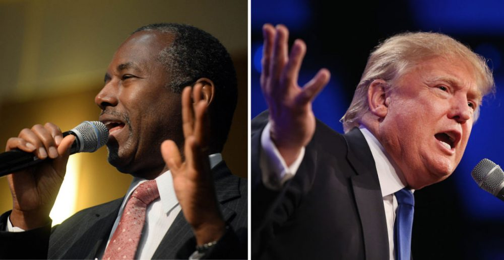 At right, Republican presidential candidate Ben Carson is pictured on September 30, 2015 in Exeter, New Hampshire. (Darren McCollester/Getty Images) At right, Donald Trump is pictured on May 16, 2015 in Des Moines, Iowa. (Scott Olson/Getty Images)