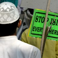Rich Barlow: By embracing global terror, the Islamic State may have rushed into a bigger fight than it can handle. In this photo, an Indian Muslim man holds a banner during a protest against ISIS in New Delhi, India, Wednesday, Nov. 18, 2015. Multiple attacks across Paris on Friday, Nov. 13 left more than one hundred dead and many more injured. (Manish Swarup/ AP)
