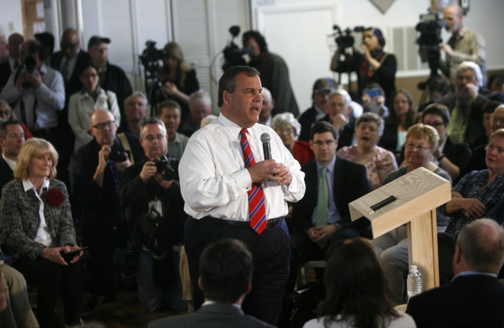 New Jersey Governor Chris Christie launched his N.H. campaign this summer with a series of town hall events. (Allegra Boverman/NHPR)