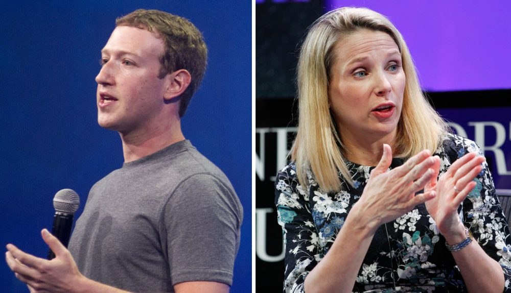 Facebook CEO Mark Zuckerberg, left, plans to take two months of paternity leave; Yahoo president and CEO Marissa Mayer plans to take two weeks of maternity leave. (Josh Edelson and Kimberly White/Getty Images for Fortune)