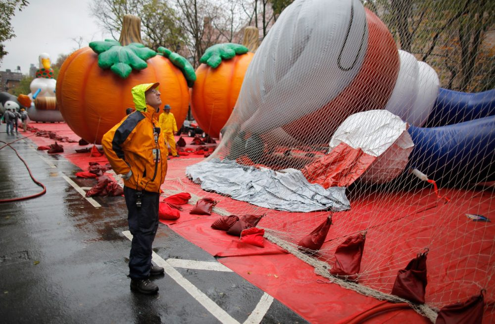 Vice president of Macy's Parade Studio John Piper directs operations as float handlers inflate and secure a Sonic the Hedgehog float during 85th annual Macy's Thanksgiving Day Parade Inflation Eve on November 23, 2011 in New York City.  (Jemal Countess/Getty Images)