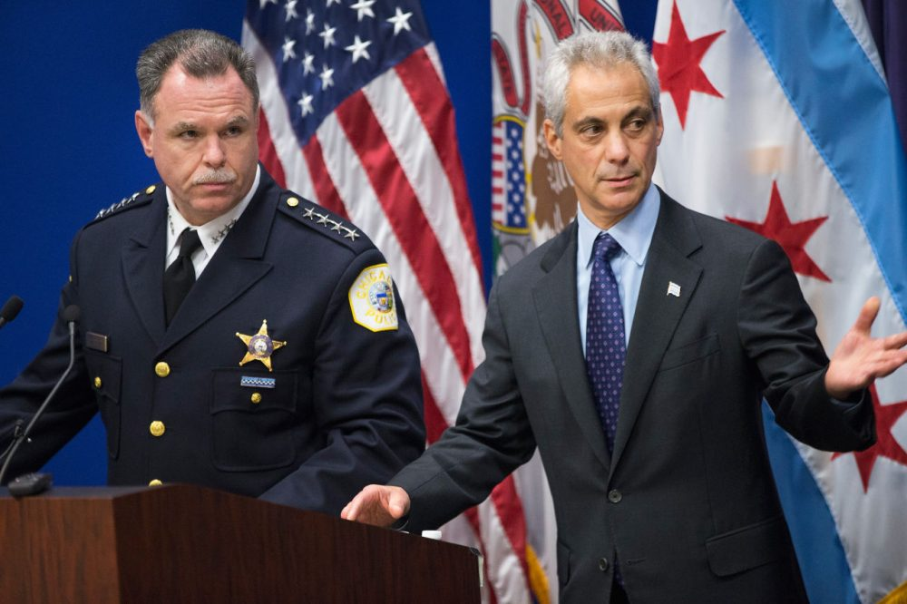 Chicago Police Superintendent Garry McCarthy (left) and Mayor Rahm Emanuel arrive for a  press conference to address the arrest of Chicago Police officer Jason Van Dyke on November 24, 2015 in Chicago, Illinois. Van Dyke has been charged with first degree murder for shooting 17-year-old Laquan McDonald 16 times on October 20, 2014 after responding to a call of a knife wielding man who had threatened the complainant and was attempting to break into vehicles in a trucking yard. Emanuel and McCarthy announced they were releasing police video of the shooting during the press conference.  (Scott Olson/Getty Images)