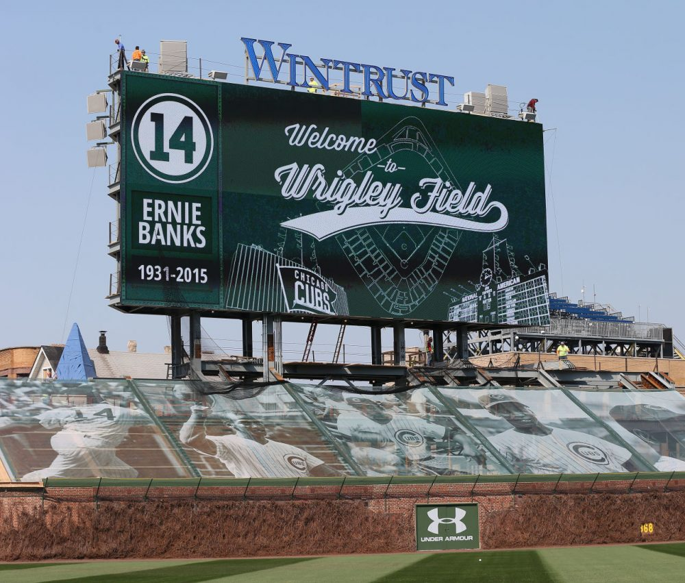 The Chicago Cubs' Wrigley Field didn't have a jumbotron until this year. (Jonathan Daniel/Getty Images)