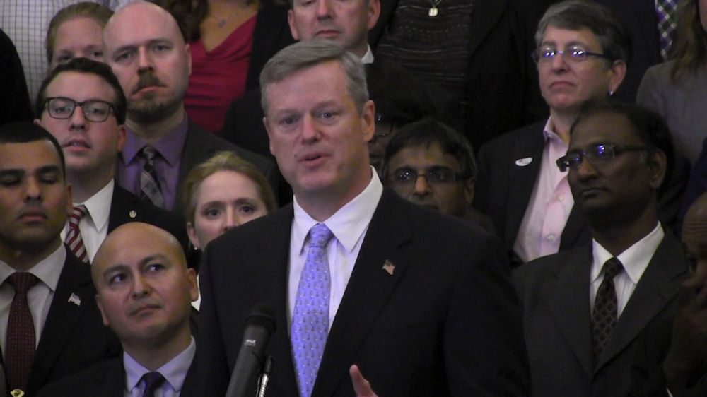 The move to include LGBT-owned businesses in contracting and procurement opportunities alongside those run by women and people of color is a first-in-the-nation effort, officials said. Here, Gov. Charlie Baker announces the initiative at the State House Tuesday. (Antonio Caban/SHNS)