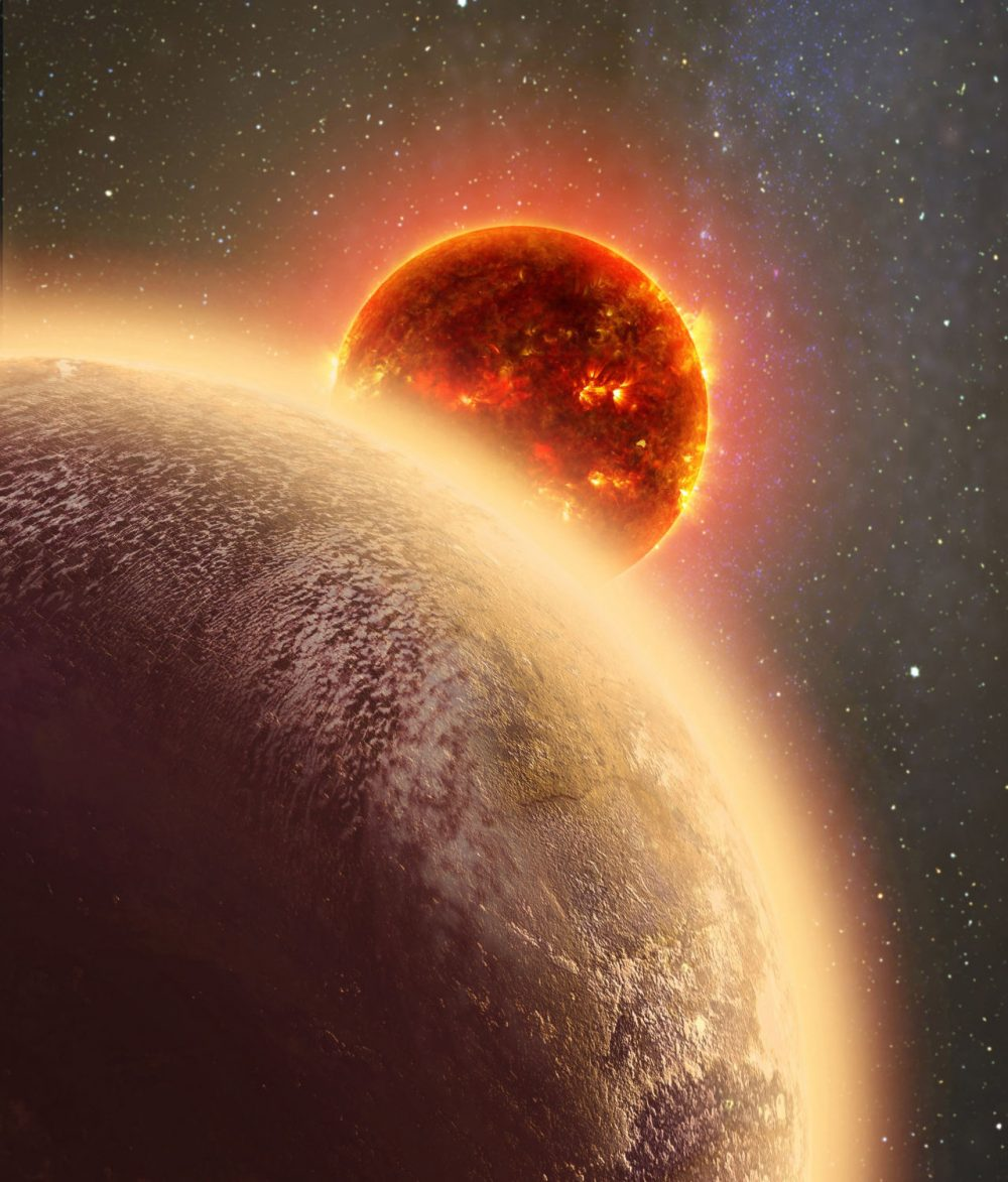 This artist''s conception shows GJ 1132b, a rocky planet similar to the Earth in size and mass, orbiting a red dwarf star. (Dana Berry/SkyWorks/NASA via AP)