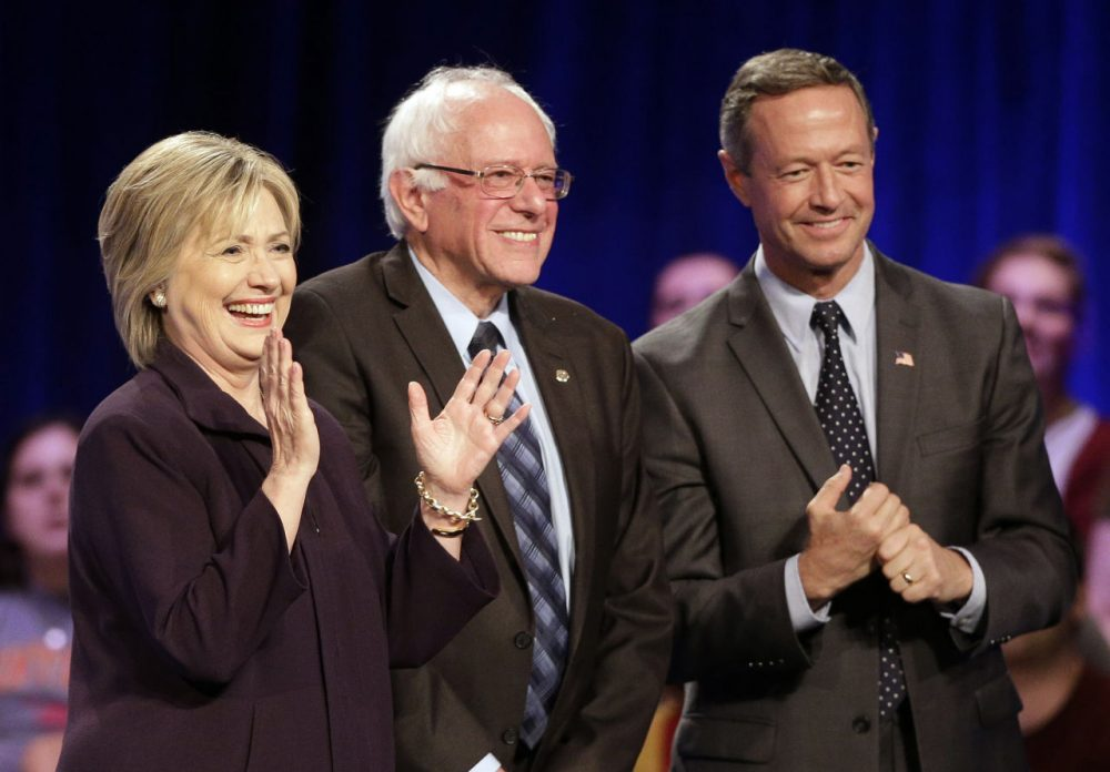 From left: Democratic presidential candidates Hillary Rodham Clinton, Bernie Sanders and Martin O'Malley smile after a forum at Winthrop University in Rock Hill, S.C., last week. (Chuck Burton/AP)