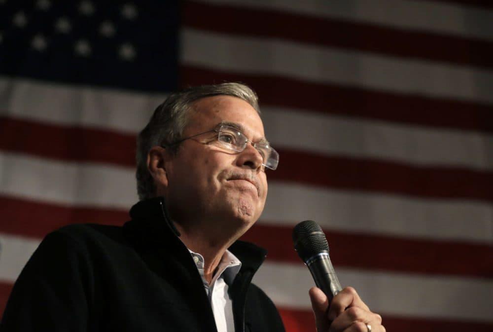 Republican presidential candidate Jeb Bush speaks at a campaign event on Nov. 3 in Scott Brown's barn, in Rye, N.H. (Steven Senne/AP)