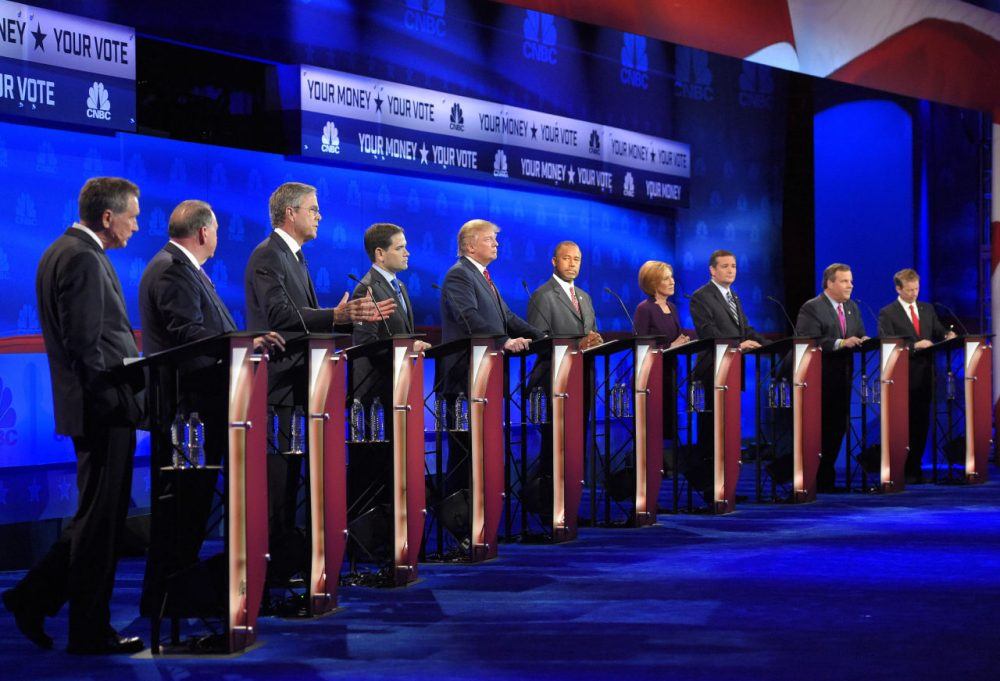 Donald Trump still leads Ben Carson in the New Hampshire Republican presidential primary, but Marco Rubio and Chris Christie have both seen significant gains since our last survey. Pictured here, Republican presidential candidates participate in last week's CNBC debate in Colorado. (Mark J. Terrill/AP)