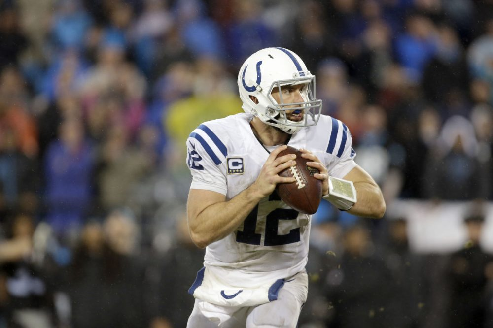 The NFL is investigating the Indianapolis Colts after they failed to disclose that quarterback Andrew Luck was playing with multiple fractured ribs.  (AP Photo/Bob Leverone)