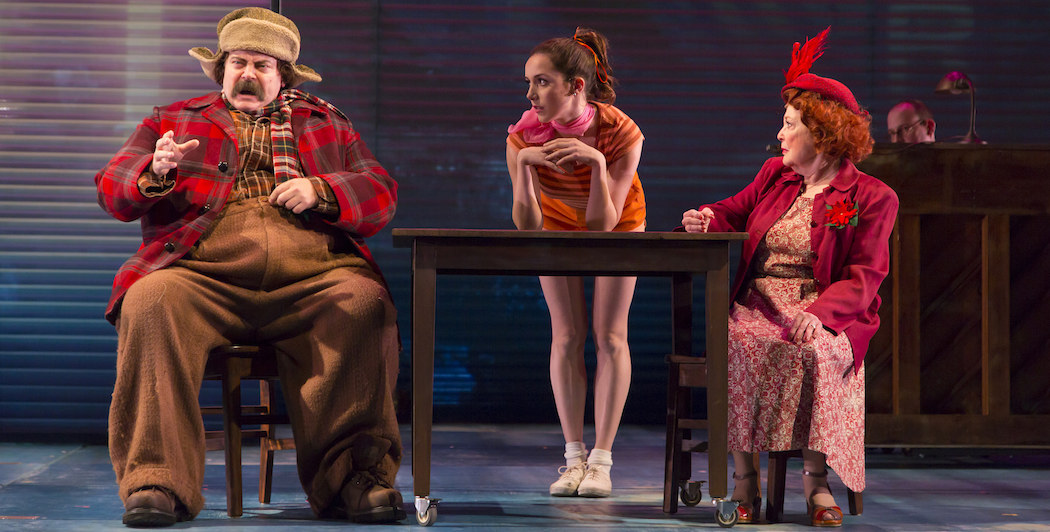 "From left to right, Nick Offerman, Talene Monahon and Anita Gillette in ""A Confederacy of Dunces."" (Courtesy of T. Charles Erickson/ Huntington Theatre Company)"